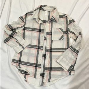 Justice plaid long sleeve button up
